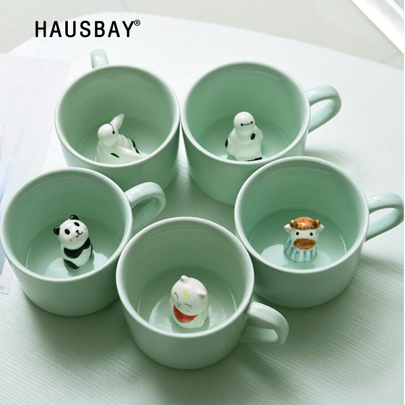 Ceramic-Cup Coffee-Mug Panda Animal Heat-Resistant Rabbit Creative Cartoon Cute
