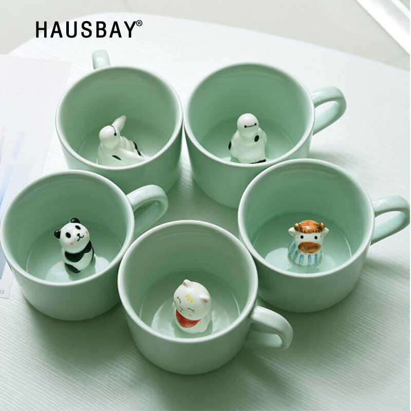 Creative Ceramic Cup coffee Mug 3D Milk Cup With Animal Cute Cartoon Panda Rabbit Tee Cup Heat-resistant Celadon Cup Caneca 1102