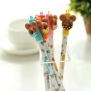 Image 1 - 30 stks/partij Zoete beer cookie pennen voor handtekening schrijven 0.5mm Uitwisbare gel inkt pennen Kids gift Kantoor schoolbenodigdheden FB440