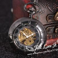 Antique Black Skeleton Dial Black Case Analog Hand Wind Clock Necklace Steampunk Men Mechanical Pocket Watch