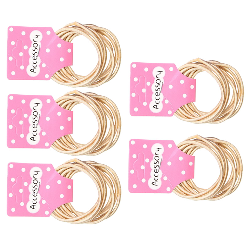 JEYL New 50pcs Baby Girl Kids Tiny Hair Accessary Hair Bands Elastic Ties Beige