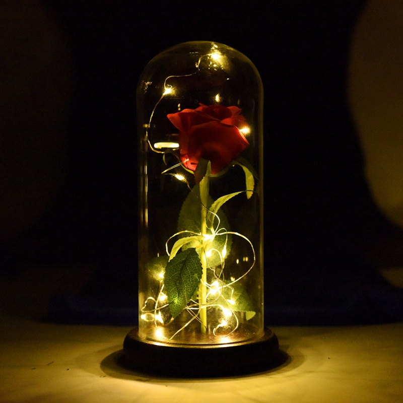 2018 WR Beauty And The Beast Red Rose in a Glass Dome On A Wooden Base for Valentines Gi ...
