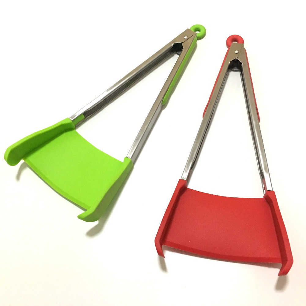 Clever 2 in 1 Kitchen Spatula and Tongs Non-Stick As Seen on TV Stainless Steel Frame Kitchen Tongs