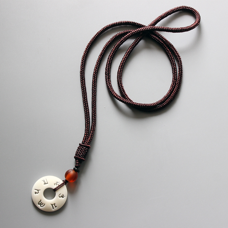 Eastisan Tibetan Buddhist Handmade Simple Rope Chain With OM Mantra Sign Tagua Nut Pendant Necklace Buddhism Amulet Jewelry