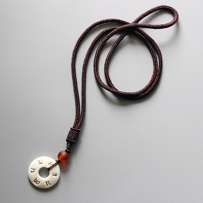 Eastisan Tibetisch-buddhistischen Handgemachte Einfache Seil Kette Mit OM Mantra Zeichen Taguanuss Anhänger Halskette Buddhismus Amulett Schmuck