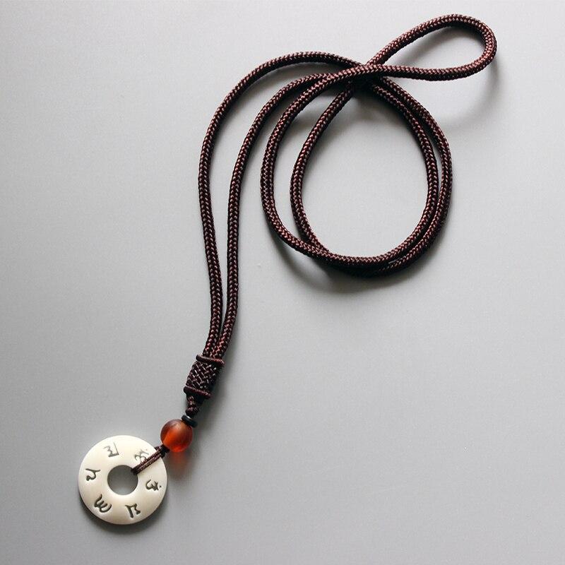 Eastisan tibetano budista hecho a mano Simple cuerda cadena con OM Mantra signo Tagua tuerca colgante collar budismo amuleto joyería