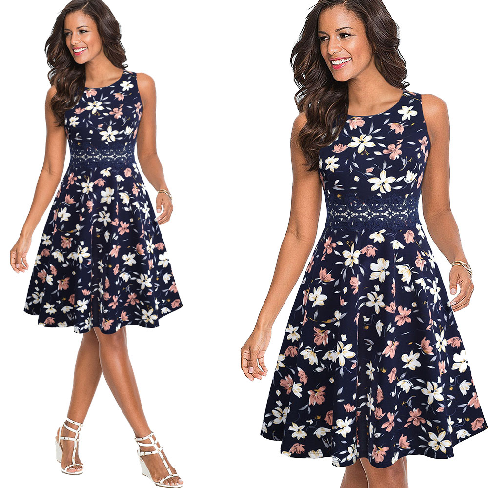 Nice-forever Vintage Elegant Embroidery Floral Lace Patchwork vestidos A-Line Pinup Business Women Party Flare Swing Dress A079 121