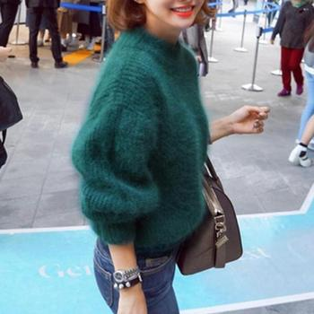 2019 Winter New Fashion Thickened Warm Turtleneck Mohair Female Sweater Lantern Sleeve Casual Solid Color Slim Simple Pullover 1