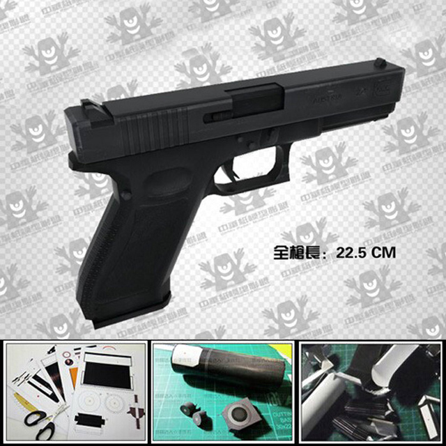 Free shipping Paper Model gun magazine Waterproof  Pistol 1:1 scale gun/3d diy paper puzzles handmade Weapon army model toy