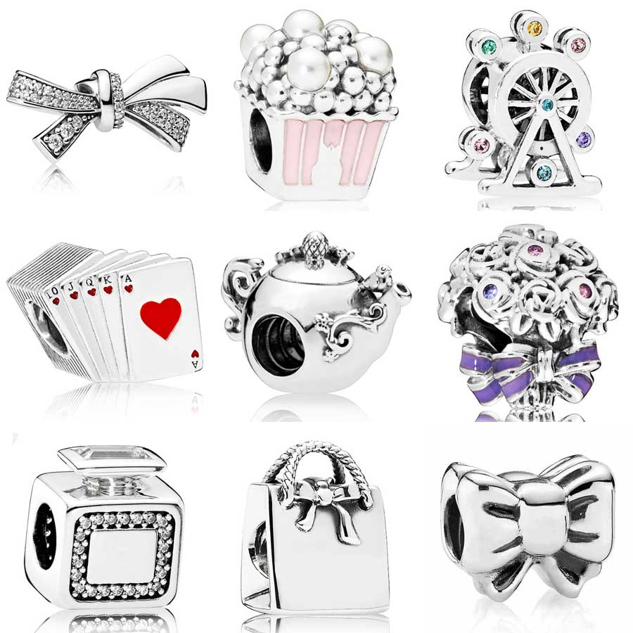 Brilliant Bow Enchanted Tea Pot Signature Scent Playing Cards Charms Fit Pandora Bracelet 925 Sterling Silver Bead DIY Jewelry