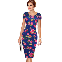 2016 Summer Elegant Women Short Sleeve Floral Print Dress Knee Length Work Business Pencil Dress Plus