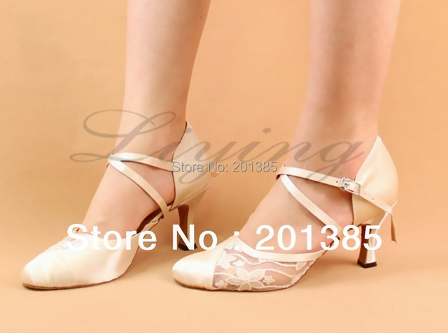 Free Shipping Ivory Closed Toe Wedding Dance Shoe Ballroom Salsa Latin Waltz Smooth Dancing Shoes Size