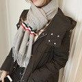 Inverno novo sólido costura TB lenço listrado Mulheres Estudante selvagem franjas selvagem longo xale scarf quente