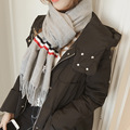 Winter new solid stitching TB striped scarf Women wild fringed long shawl Student wild warm scarf