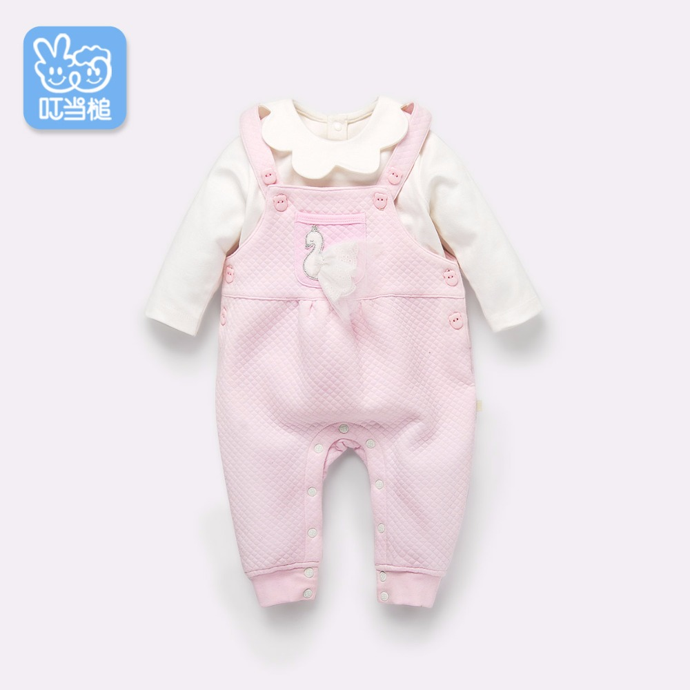 Dinstry Baby overalls pants spring and autumn newborn trousers princess swan 2pieces set 2017 new cartoon pants brand baby cotton embroider pants baby trousers kid wear baby fashion models spring and autumn 0 4 years
