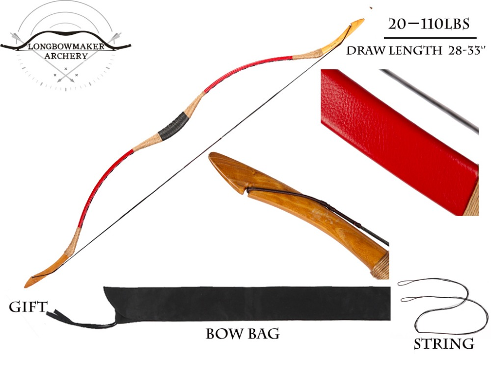 20-110 lb Ali Bow Traditional Handmade Hungarian Red Cow Leather Horse Longbow Archery Hunting Recurve Bow Fiberglass Bow 250g bow horse hair natural mongolian horse tail bow parts 75 79cm