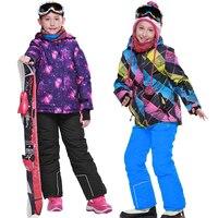 2020 Winter Girls Ski Suits Fleece Hooded Jacket Overalls Kids Clothing Sets Outdoor Sports Waterproof Children Snow Clothes