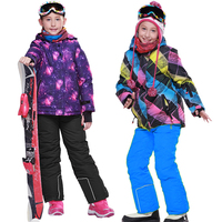 2020 Winter Girls Ski Suits Fleece Hooded Jacket Overalls Kids Clothing Sets Outdoor Sports Waterproof Children Snow Clothes