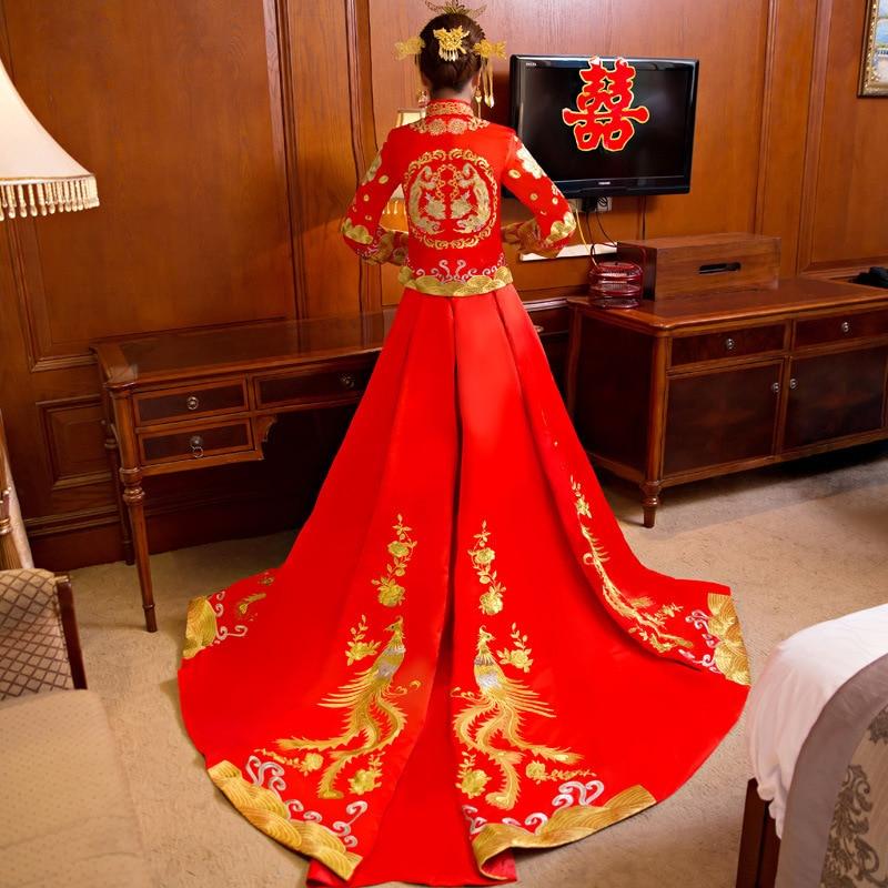 Ny drake och Phoenix Bride Kinesisk stil Marry Tailing Wedding - Nationella kläder - Foto 5