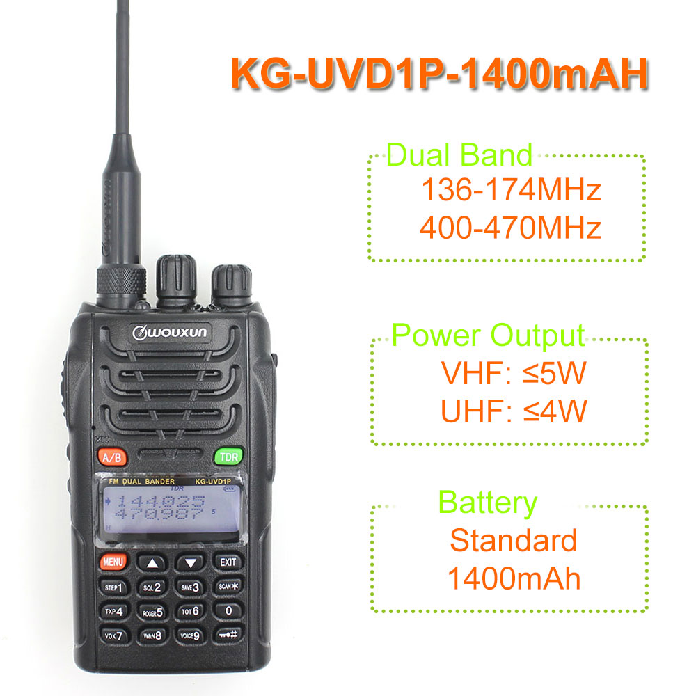 Original WOUXUN KG-UVD1P Dual Band Two Way Radio with 1700mAh battery FM Transceiver UVD1P Walkie Talkie UHF VHF HAM RadioOriginal WOUXUN KG-UVD1P Dual Band Two Way Radio with 1700mAh battery FM Transceiver UVD1P Walkie Talkie UHF VHF HAM Radio