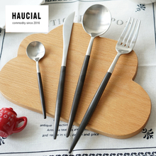 Hot Sale 304 Stainless Steel Cutlery Dinnerware Set Forks Knives Spoons Gold Flatware 4 Pieces Matte Brushed Black Handle G322