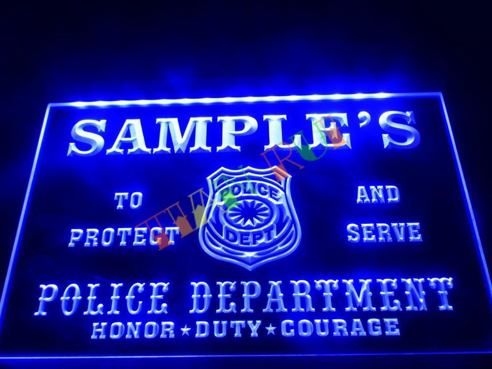 dz071 name personalized custom police station badge bar beer neon sign hang sign home decor shop. Black Bedroom Furniture Sets. Home Design Ideas