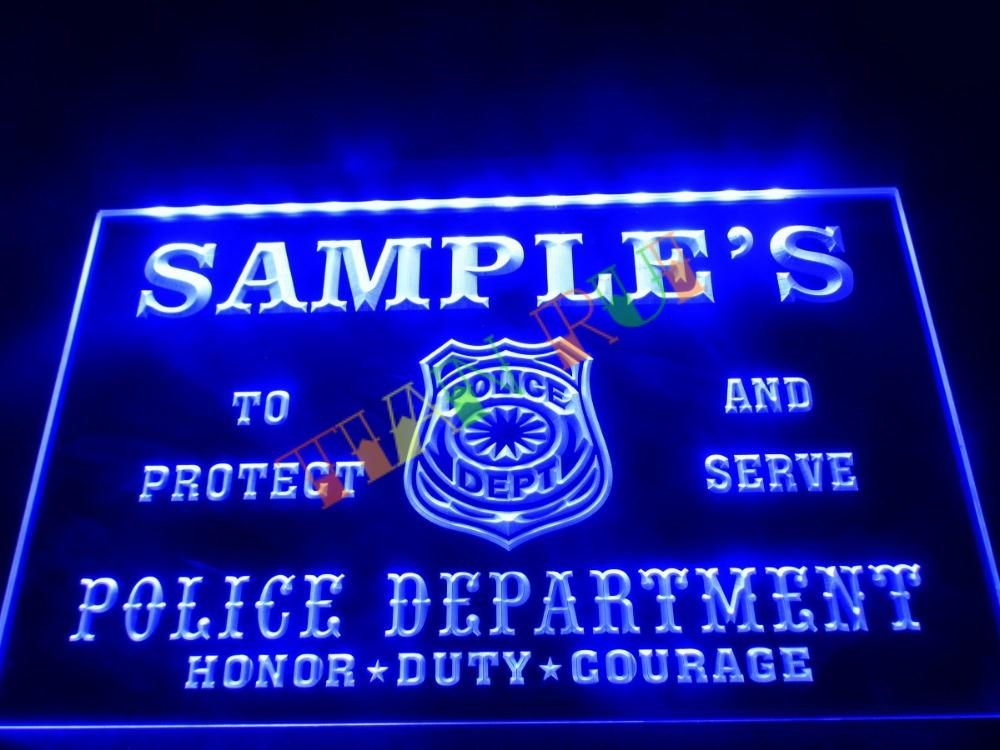 Dz071 Name Personalized Custom Police Station Badge Bar Beer Neon Sign Hang Sign Home Decor