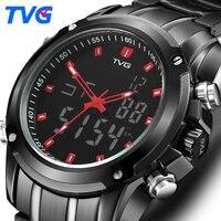 TVG Mens שעונים תצוגה כפולה קוורץ תנועת קוורץ שעון גברים ספורט שעון דיגיטלי LED לצפות שעון צבאי 526