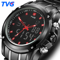TVG Mens Watches Double display quartz movement Quartz Watch Men Sport Clock Digital LED Watch Military Wristwatch 526