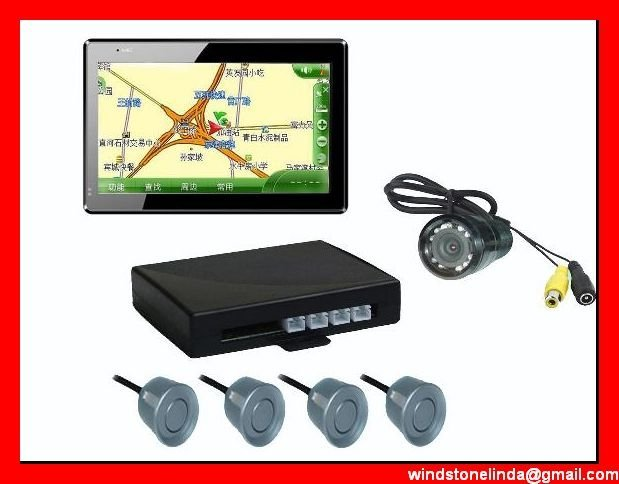Free shipping! Wholesale 5inch GPS navigation with wireless camera and parking sensor+bluetooth,ISDB-T TV
