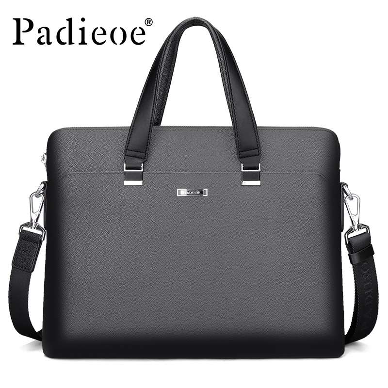 Padieoe Luxury Men's Briefcase High Quality PVC Documents Bag for Male Men Portfolio for Laptop Computers Fashion Office Bags padieoe 2017 fashion genuine leather laptop bag high quality business men briefcase famous brand luxury documents bag for male