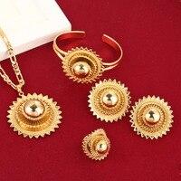 Big Size Ethiopian Bridal Jewelry Earring Necklace Ring Bangle African Gold Set Nigeria Sudan Eritrea Kenya