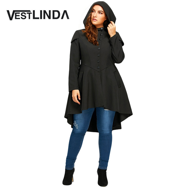 VESTLINDA Trendy Plus Size Lace Up High Low Hooded Coat Female Halloween  Outwear Autumn Women Layered Gothic High Waist Trench 9650b8ab5