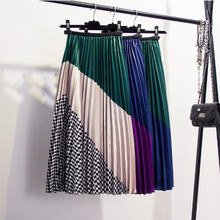 купить Autumn and Winter Contrast Color Mosaic Plaid Satin High Waist Organ Pleated Skirt Big Card Color Matching Large Pleated Skirt в интернет-магазине