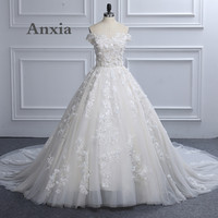 Real Photos Sexy Boat Neck White Champgne Lace Wedding Dress 2017 Anxia High Quality Vintage Bridal