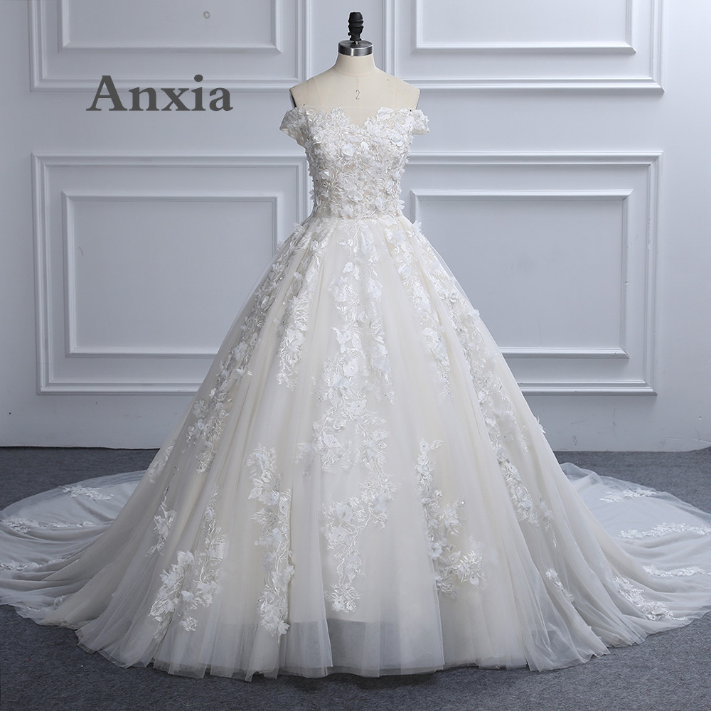 Foto nyata Sexy Boat Neck Putih Champgne Lace Wedding Dress 2017 Anxia Kualitas Tinggi Vintage Bridal Gowns Jubah De Mariage KWD018