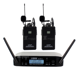 GLXD4 Professional UHF Wireless Microphone Clip System 2 Channel Cordless Lavalier Lapel Mic For Stage Performance Karaoke Mixer