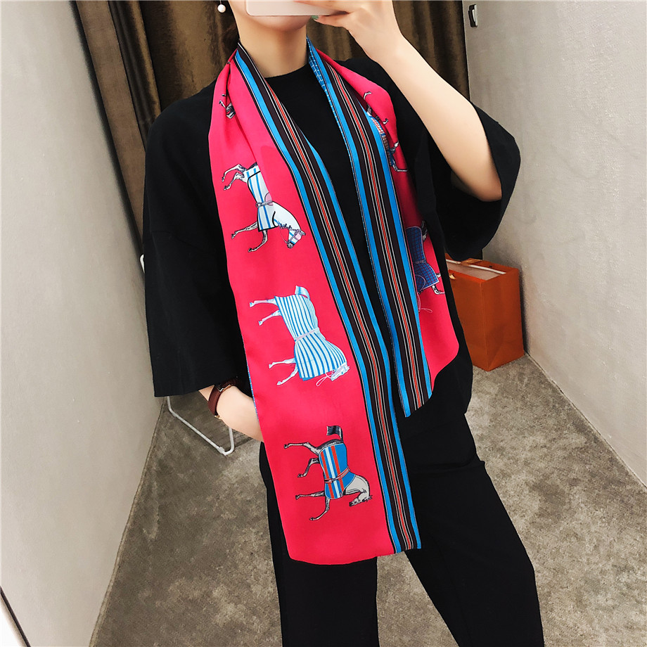 160cm Luxury Brand Design Horse Plaid Twill Scarf Double-deck Women Scarf Tie Head Silk Scarves & Wraps Neckerchief For Ladies