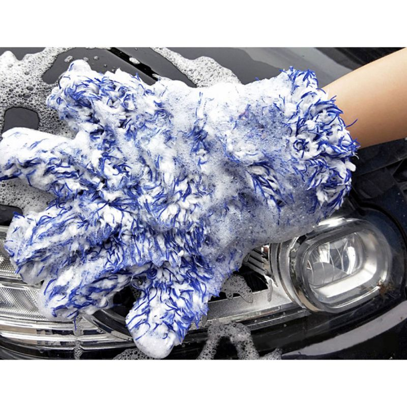 Plush Five-Finger Gloves Five Fingers Car Wash Gloves Multi-Function Cleaning Gloves Durable Retractable Gloves