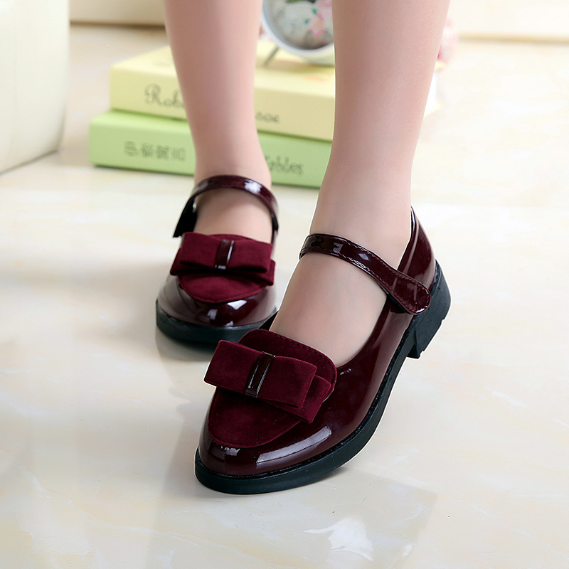 Party-Shoes Christmas-Dress Burgundy Girls Kids Bow Red Black And Sweet Spring Everweekend