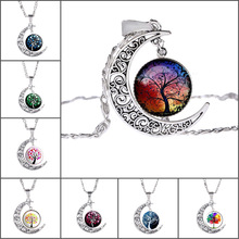 Tree of Life Necklace with Silver Plated Glass Cabchon Crescent Moon Shaped Choker Long Pendant Necklace for Women Gift