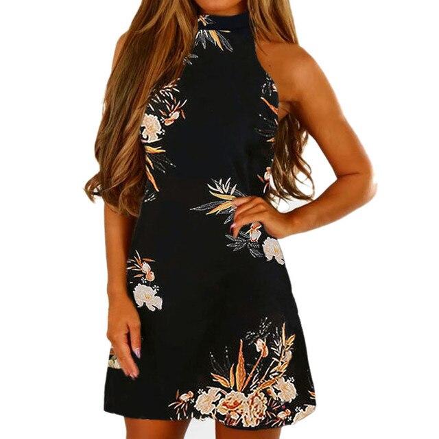 d61ffa3a07 Women Dress 2018 Summer Off Shoulder Floral Print Chiffon Dress Boho Short  Party Beach Dresses Sundress Vestidos de fiesta#23