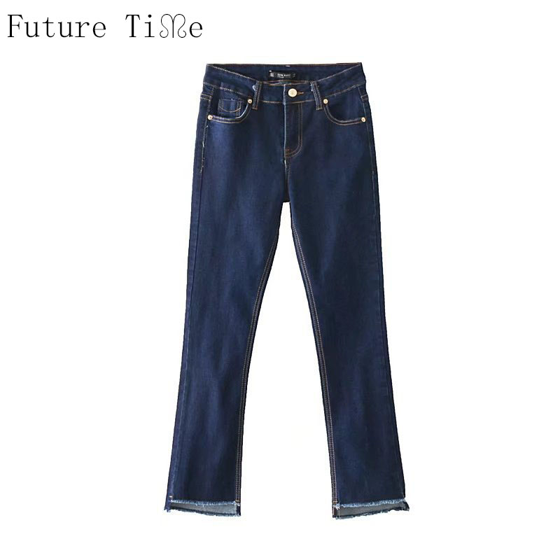 Future Time Women Jeans Casual Solid Black Flare Pants Ladies Tassel Washed Denim Pants Female Dark Blue Jeans Trousers NZ046 women girls casual vintage wash straight leg denim overall suspender jean trousers pants dark blue