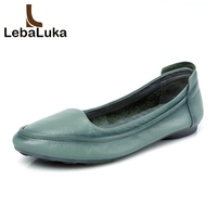LebaLuka 4 Colors Simple Flats Mother Shoes Women Real Genuine Leather Shoes Solid Color Office Shoes Women Footwears Size 34 40
