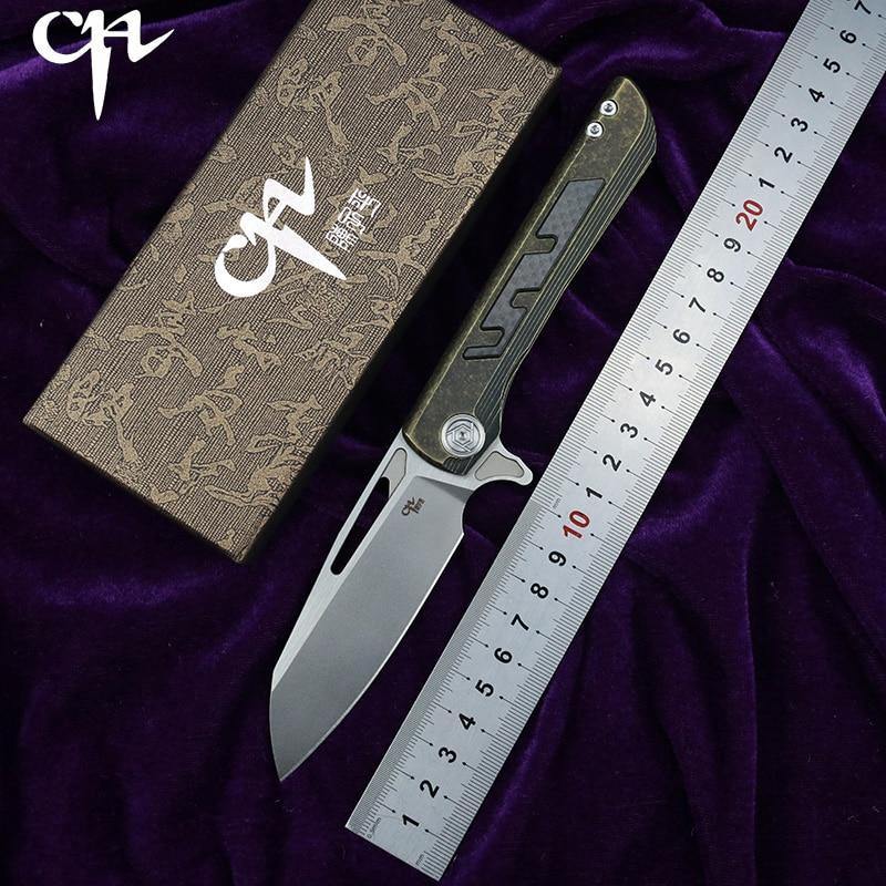 CH CHBUTCHER 2 Flipper folding knife S35VN ceramic bearingbearing titanium CF handle outdoor camping fruit knife