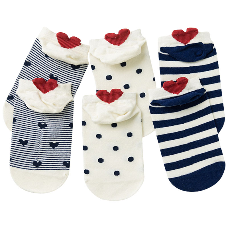 3pairs Women   Socks   Red Heart Cute College Wind Simple Basic Funny Female   Socks   Warm Cotton Spring Summer Harajuku Sox Girl   Socks