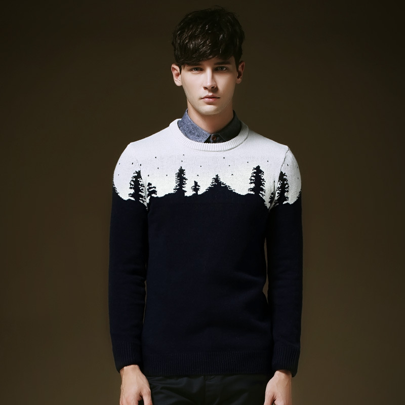 2015 Autumn Winter Christmas Tree Jacquard Sweater Men Pullover