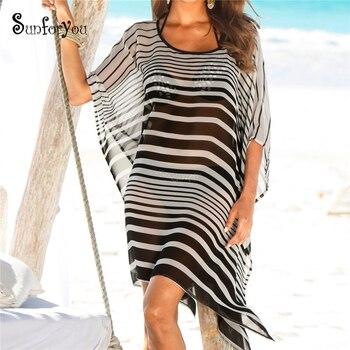 Chiffon Beach Cover up Beach Dress Striped Tunic for Beach Saida de Praia Pareo Beach 2019 Plus size Swimwear Cover up