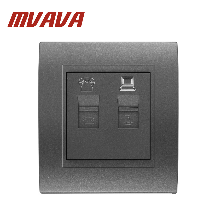 MVAVA Nova Chegada Telefone E Tomada para Computador Soquete TEL & PC Material do PC Do Painel À Prova de Fogo Tomada de Cor Cinza