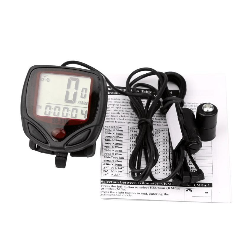 2017 NEW Waterproof Bicycle Bike Cycle LCD Display Digital Computer Speedometer Odometer S922 1 lcd water resistant bike computer odometer speedometer black red 1 x cr2032
